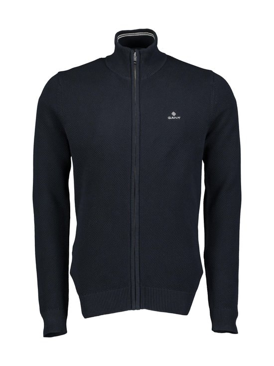 GANT - Cotton Pique Zip -neuletakki - 433 EVENING BLUE | Stockmann - photo 1
