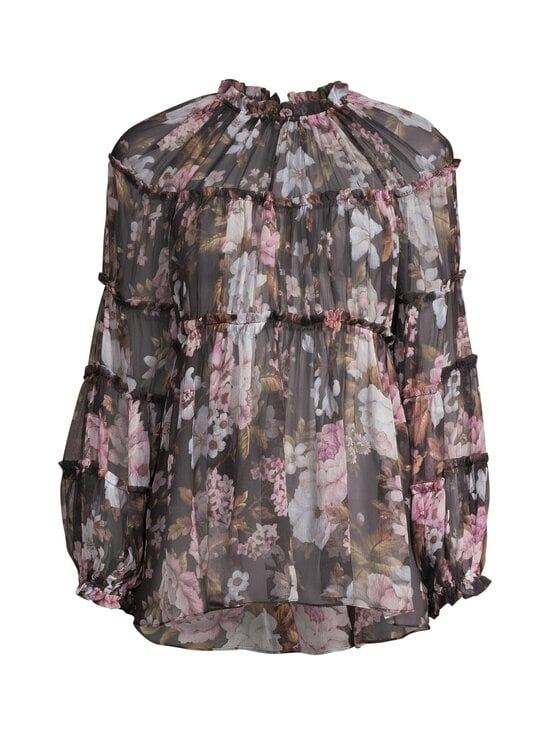 Zimmermann - Charm Tiered Blouse -silkkipusero - BLACK FLORAL BLF | Stockmann - photo 1