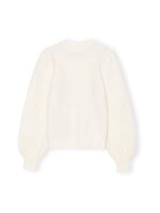 Ganni - Soft Wool Knit Pullover Solid -villasekoiteneule - EGRET   Stockmann