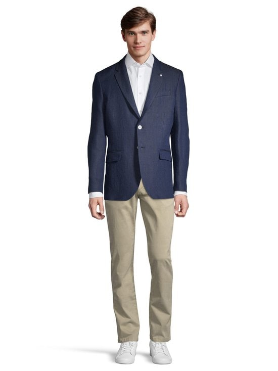 GANT - Regular Linen Herringbone -bleiseri - 410 MARINE | Stockmann - photo 2