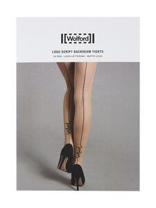 Wolford - Logo Script Backseam 20 den -sukkahousut - 8641 FAIRLY LIGHT/BLACK | Stockmann