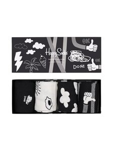 Happy Socks - Black And White -sukat 4-pack - 9100 9100-BLACK | Stockmann