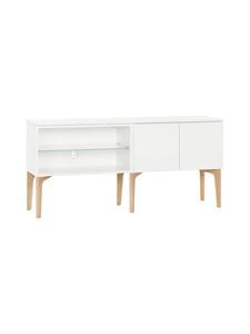 Lundia - Fuuga-tv-taso 35 x 60 x 128 cm - WHITE PAINTED MDF/OAK/FROST GLASS SHELF | Stockmann