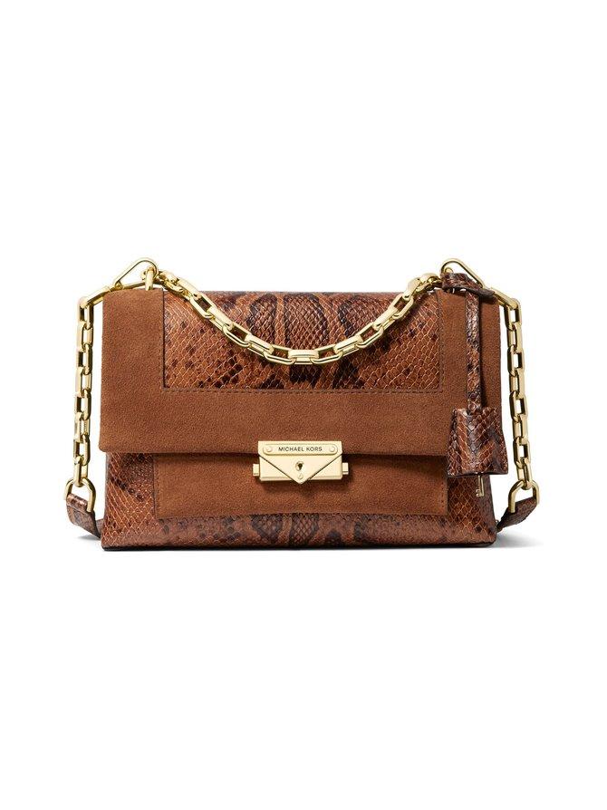 Cece Medium Python-Embossed Leather and Suede Shoulder Bag -nahkalaukku