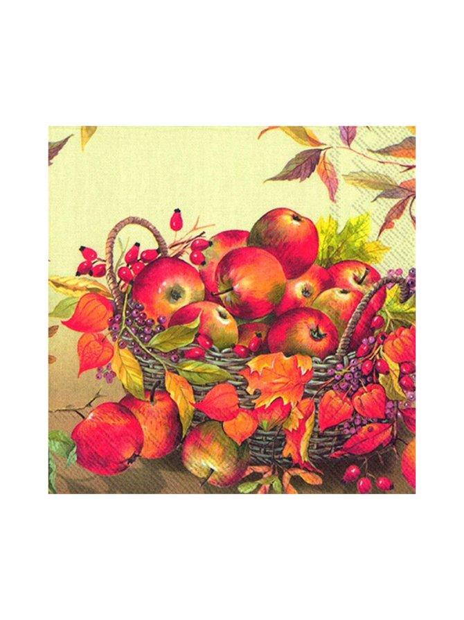Napkins Basket of Apples -servetti 25 x 25 cm