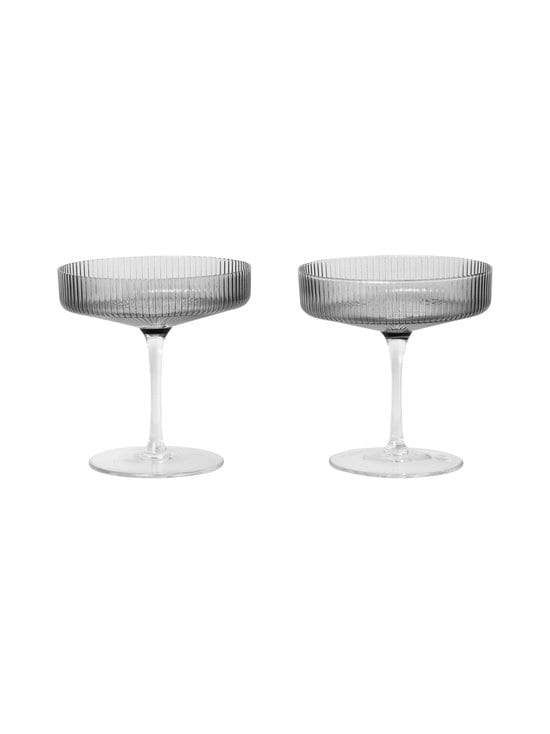Ferm Living - Ripple Champagne Saucer -lasi 2 kpl - GREY | Stockmann - photo 1