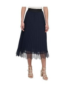 Dkny - Pull On Pleated Skirt W Lace -hame - NEW NAVY   Stockmann