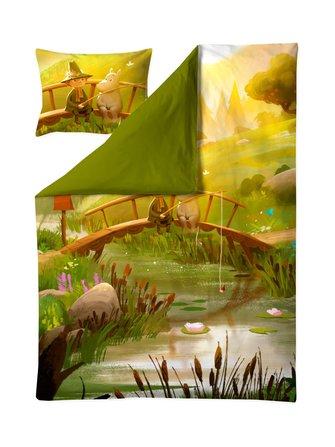 Moominvalley Spring satin duvet cover set - Finlayson