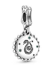 Pandora - Harry Potter, Slytherin Sterling-hopeaa dangle with green crystal Pandora green - GREEN | Stockmann