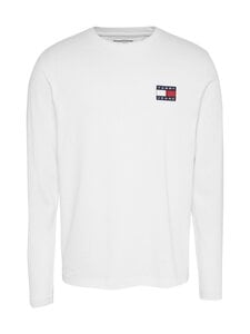 Tommy Jeans - TJM Tommy Badge Longsleeve Tee -paita - YBR WHITE | Stockmann