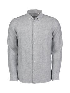 Knowledge Cotton Apparel - Larch-pellavakauluspaita - 1001 TOTAL ECLIPSE   Stockmann