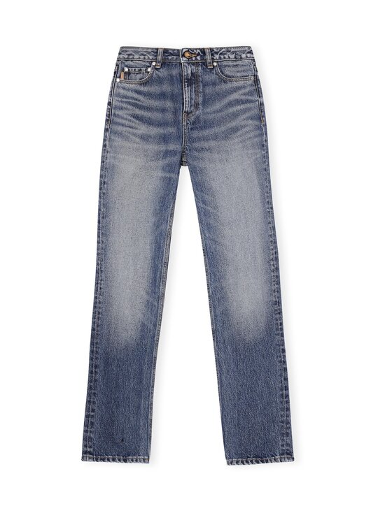 Washed Denim High-waisted Straight Jeans -farkut