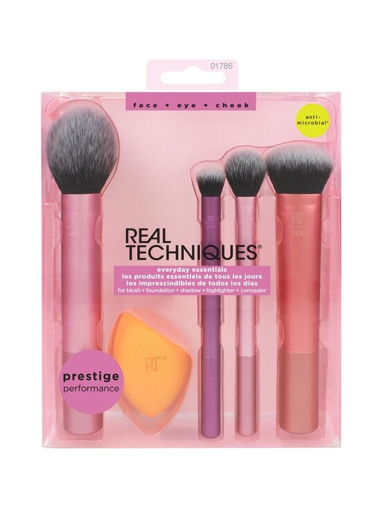 Real Techniques - Everyday Essentials Make Up Brush Set -sivellinsetti, 5 osaa - VAALEANPUNAINEN   Stockmann - photo 2