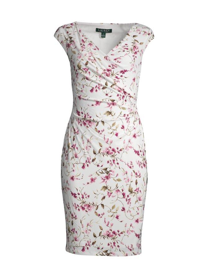 Floral Jersey Surplice -mekko
