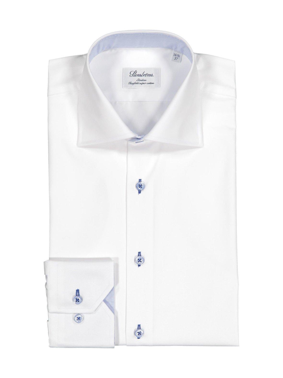 White (valkoinen) Stenströms Slimline-kauluspaita 785771 0497  5dac34cb37