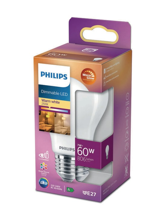 Philips - LED Classic 60W A60 E27 Dimmable -lamppu - WHITE | Stockmann - photo 1