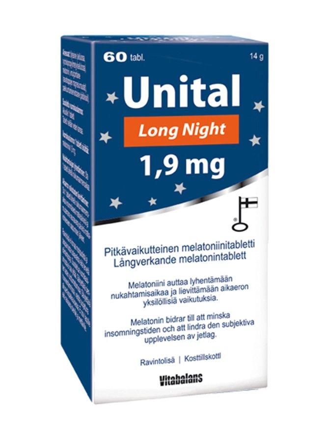 Unital Long Night -melatoniinitabletti 1,9 mg 60 tabl./14 g
