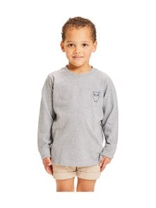 Knowledge Cotton Apparel - Flax Owl Long Sleeve Tee -paita - 1012 GREY MELANGE | Stockmann