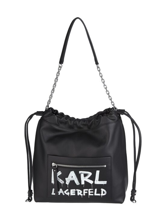Karl Lagerfeld - K/Soho Graffiti Hobo -nahkalaukku - A998 BLACK/WHITE | Stockmann - photo 1