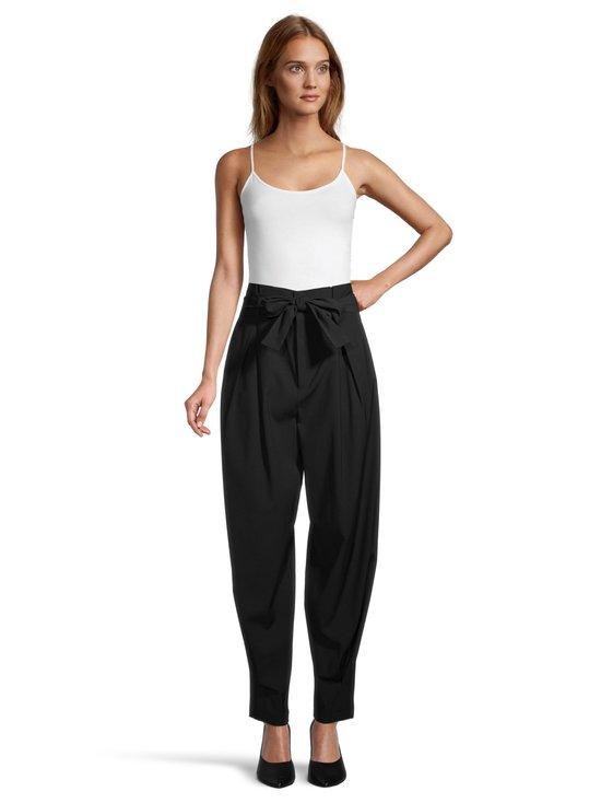 Viscose Wool Gabardine Belted Pants -housut