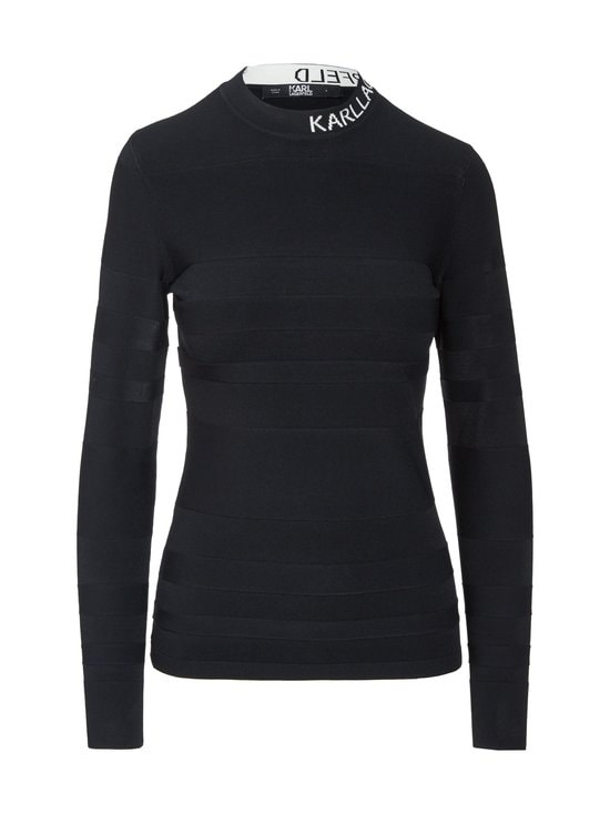 Karl Lagerfeld - Striped Logo Sweater -paita - 999 BLACK | Stockmann - photo 1