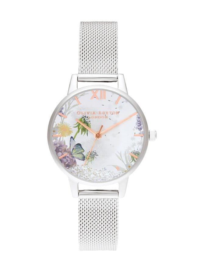 Wishing Watch Silver Sunray, Rose Gold & Silver Mesh -rannekello