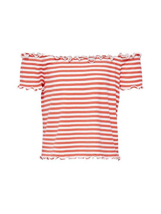 KIDS ONLY - KonNaroma Off Shoulder Top -paita - SUGAR CORAL STRIPES:BRIGHT WHITE | Stockmann - photo 1