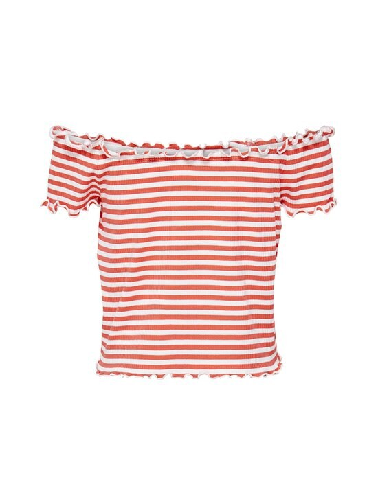 KIDS ONLY - KonNaroma Off Shoulder Top -paita - SUGAR CORAL STRIPES:BRIGHT WHITE | Stockmann - photo 2