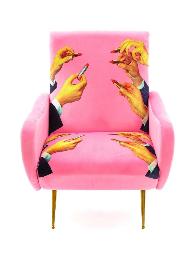 Seletti Wears Toiletpaper Lipsticks Pink -nojatuoli 70 x 79 x 86 cm