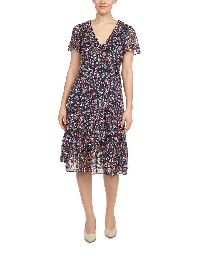 Floral Burnout Georgette Wrap Dress -mekko