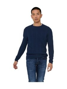 Only & Sons - OnsRige-puuvillaneule - DRESS BLUES | Stockmann