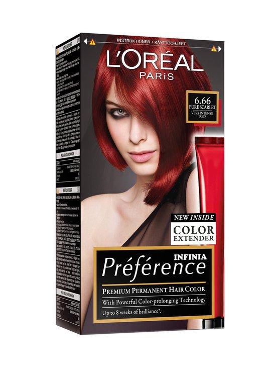 L'Oréal Paris - Préférence Infinia -hiusväri - 6.66 PURE SCARLET VERY INTENSE RED | Stockmann - photo 1
