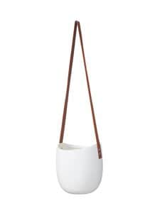 Wikholm Form - Hanging Pot With Leather Band -amppeli 16 x 18 cm - WHITE | Stockmann