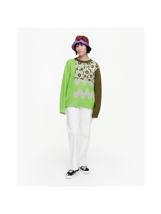 Marimekko - Co-Created Sinirinta knitted pullover -neule - 066 BRIGHT GREEN, DARK OLIVE   Stockmann - photo 3