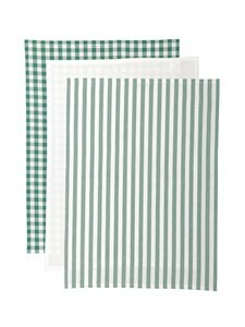 Casa Stockmann - Tavola-keittiöpyyhe 3 kpl - GREEN/WHITE   Stockmann