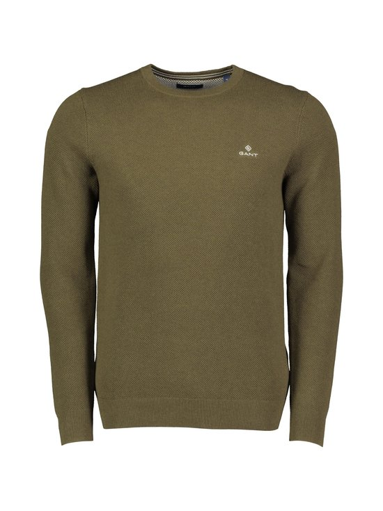 Cotton Piqué Crew Neck Sweater -puuvillaneule