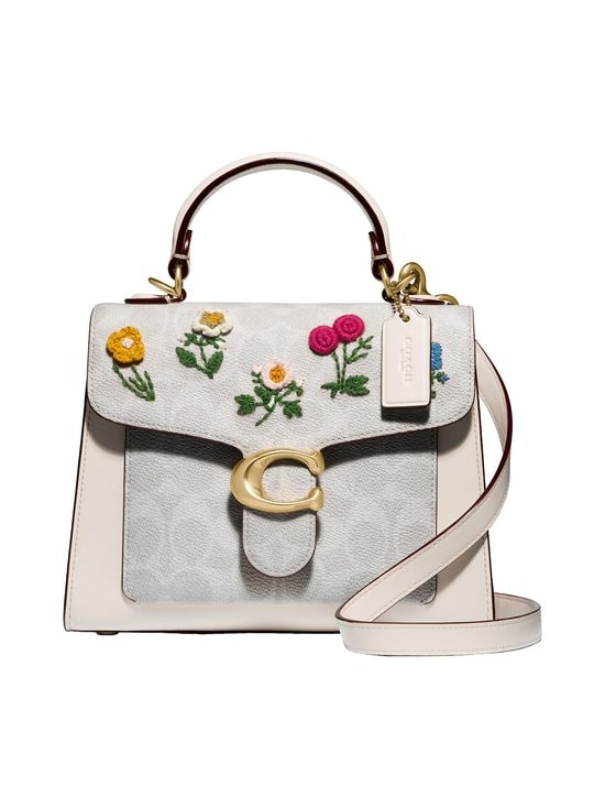 Coach - Tabby Top Handle 20 in Signature Canvas with Floral Embroidery -laukku - B4/CHALK CHALK | Stockmann - photo 1