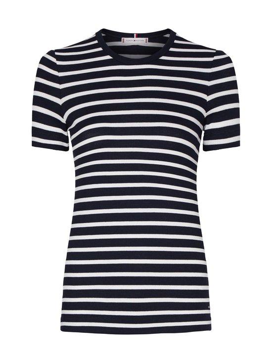 Tommy Hilfiger - Essentials Ribbed Slim Fit T-Shirt -paita - 0X6 WE BRETON STP DESERT SKY   Stockmann - photo 1