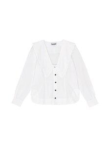 Ganni - Cotton Poplin Frill -pusero - BRIGHT WHITE 151 | Stockmann