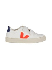 VEJA - Small Esplar Velcro -nahkasneakerit - EXTRA WHITE ORANGE FLUO COBALT | Stockmann
