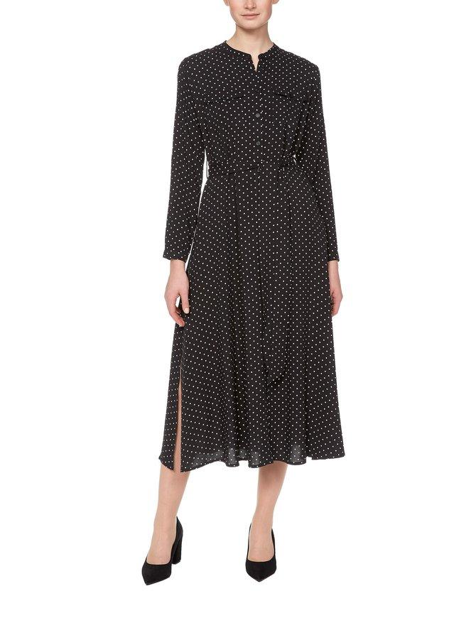 Belted Grandad Collar Shirt Dress -mekko
