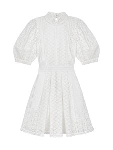 Self-Portrait - Cotton Broderie Mini Dress -mekko - WHITE | Stockmann