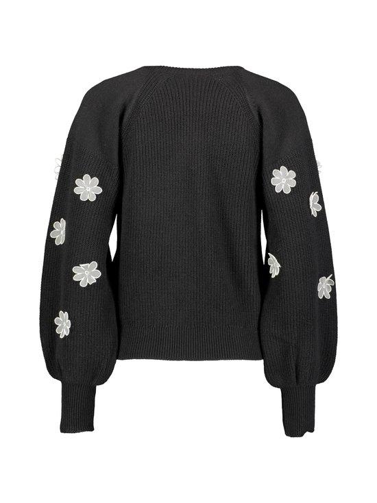 RED Valentino - Organza Flowers Embroidered Wool Sweater -villasekoiteneule - 0NO BLACK | Stockmann - photo 2