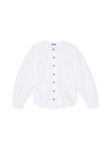Ganni - Cotton Poplin Fitted Shirt -pusero - BRIGHT WHITE | Stockmann