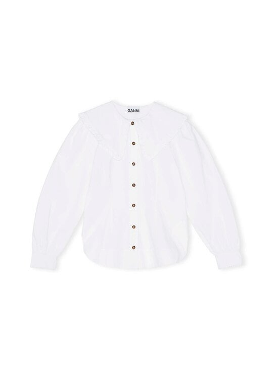 Ganni - Cotton Poplin Fitted Shirt -pusero - BRIGHT WHITE | Stockmann - photo 1