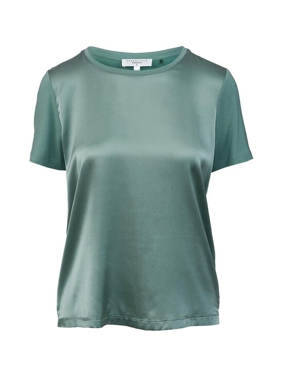 ESSENTIALS by Stockmann - Julia Silk Top With Jersey Back -pusero - MINT   Stockmann - photo 1