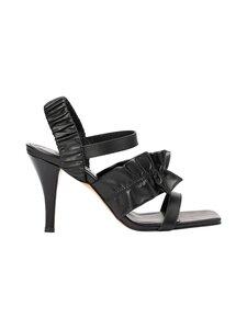 Ganni - Ruffle Strap Sandal -nahkasandaletit - BLACK 099   Stockmann