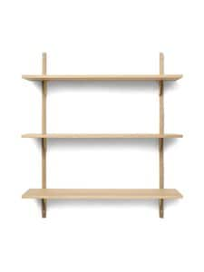 Ferm Living - Sector Shelf Triple Wide -hylly 87 x 102 x 26,1 cm - OAK - BRASS | Stockmann