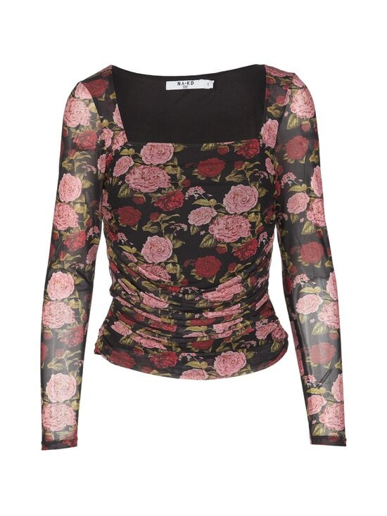 NA-KD - Ruched Long Sleeve -pusero - ROSE PRINT | Stockmann - photo 1