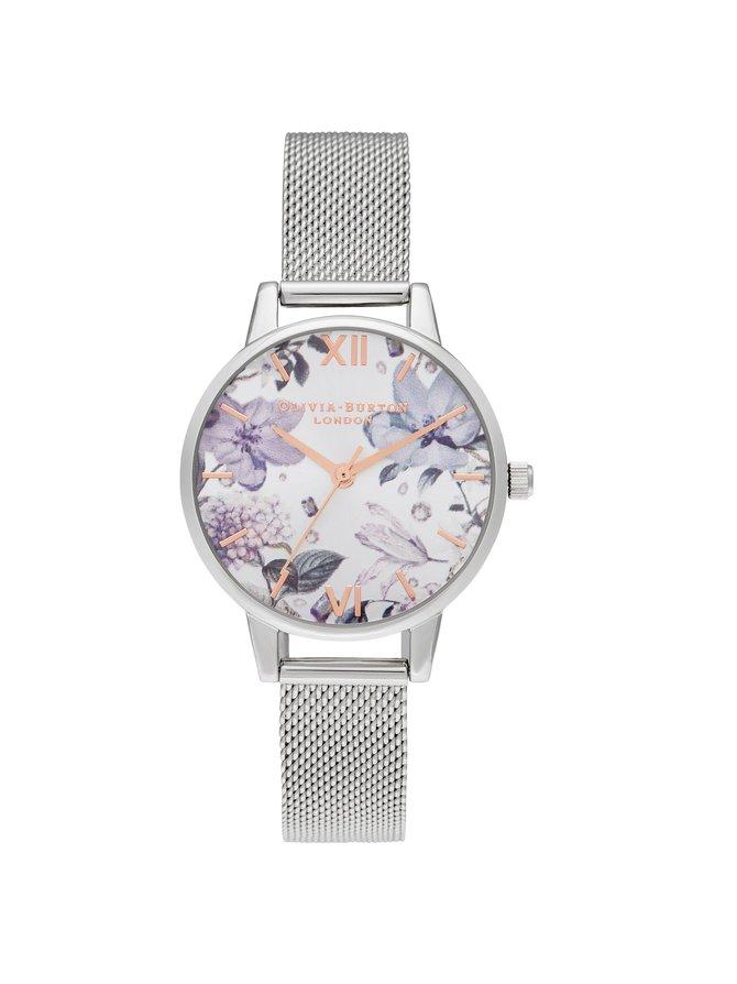 Bejewelled Florals Midi Silver Mesh -rannekello